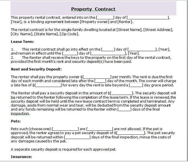 Property Contract Template 06
