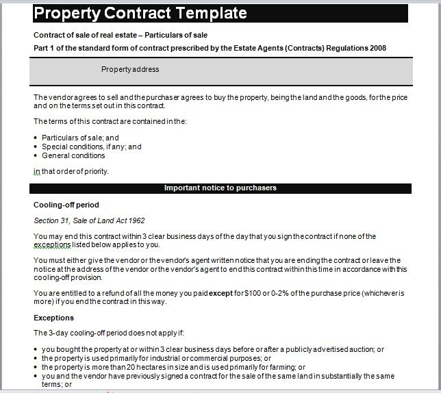 Property Contract Template 13