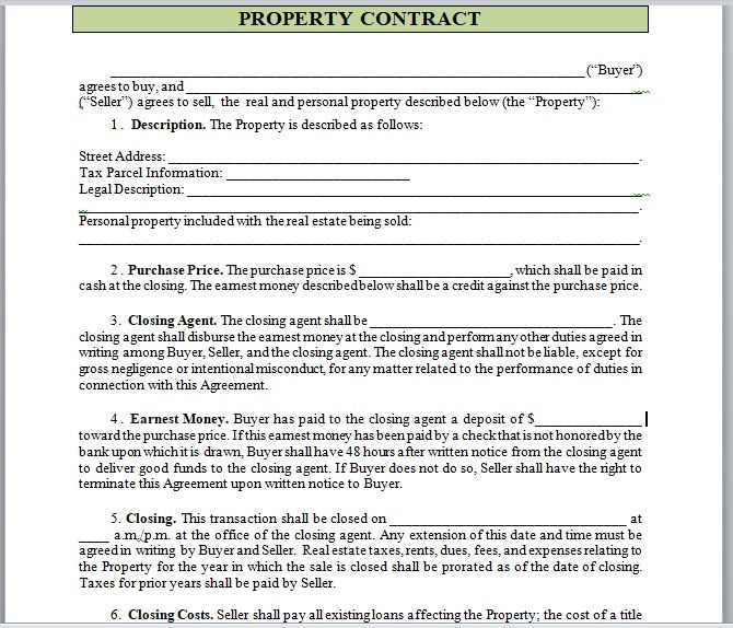 Property Contract Template 24