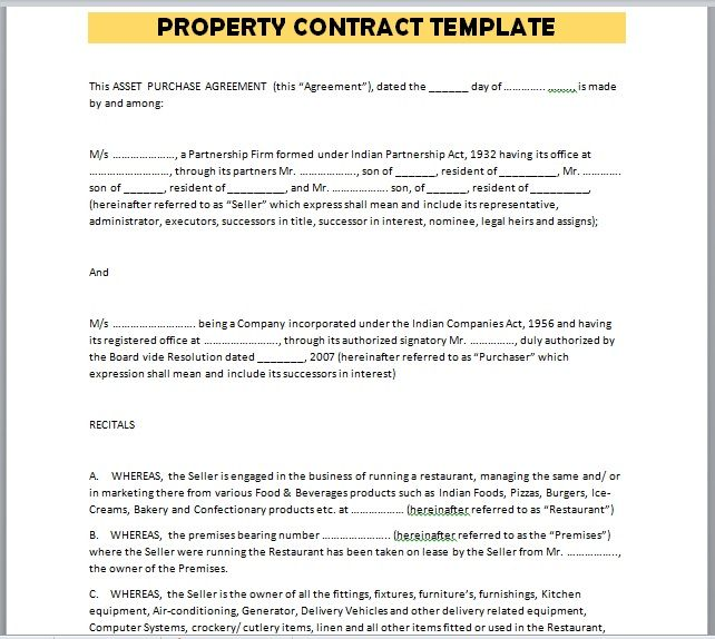 Property Contract Template 27