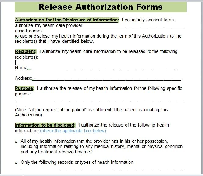 Release Authorization Form 01