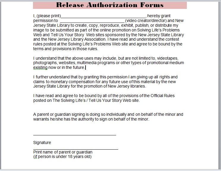 Release Authorization Forms