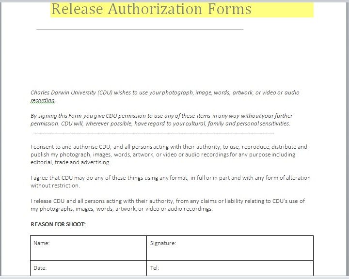 Release Authorization Form 15