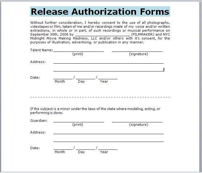 Release Authorization Form 16