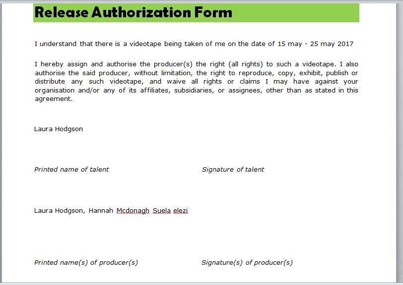 Release Authorization Form 20