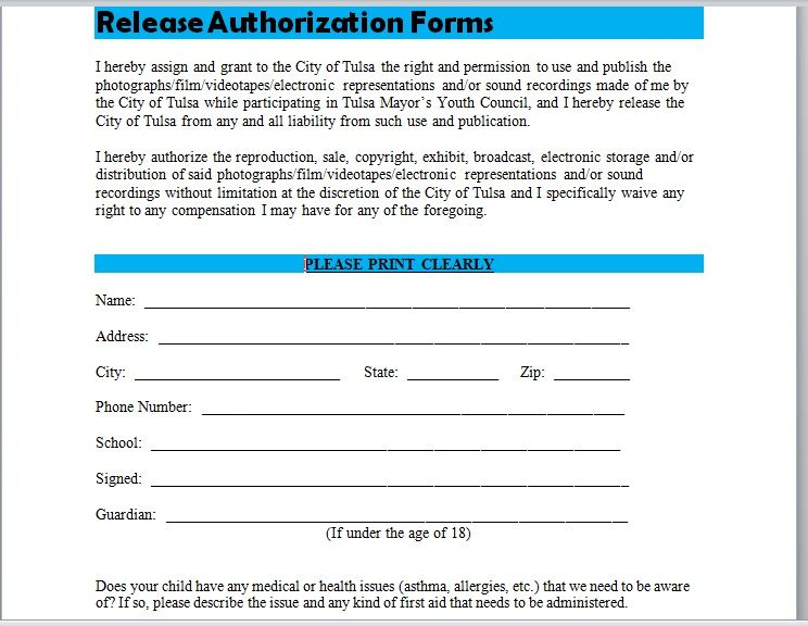 Release Authorization Form 21