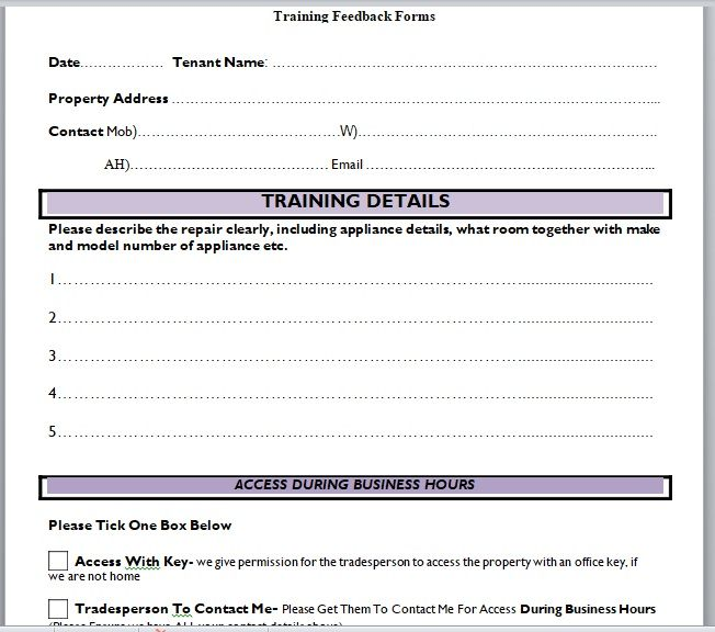 Training Feedback Form 02
