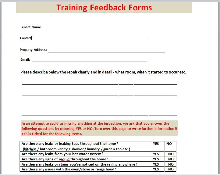 Training Feedback Form 03