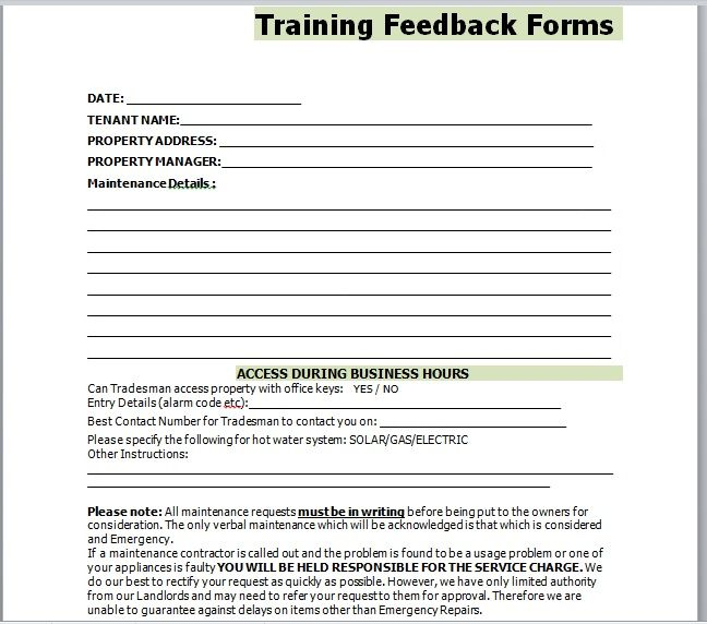 Training Feedback Form 05