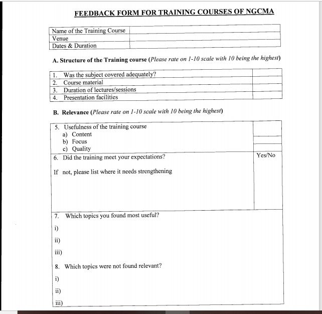 Training Feedback Form 09