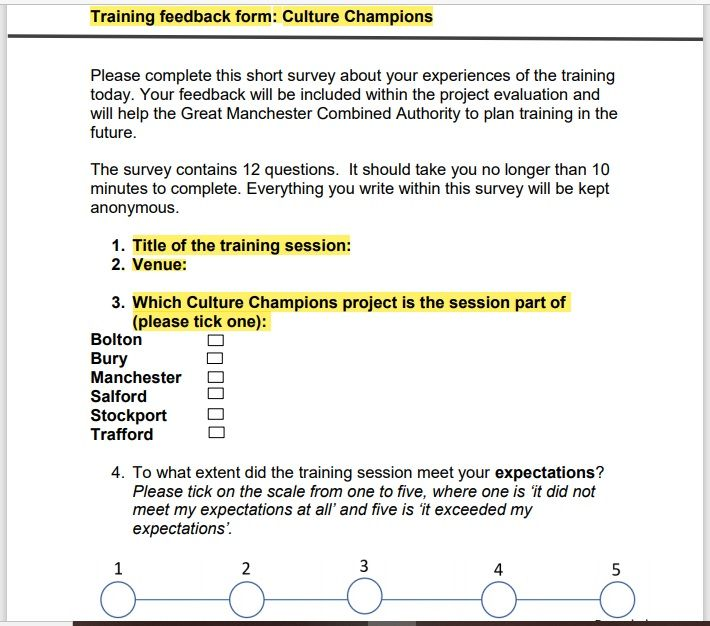 Training Feedback Form 10