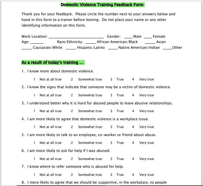 Training Feedback Form 11