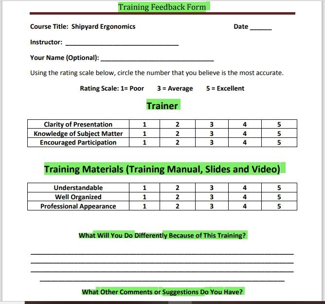 Training Feedback Form 15