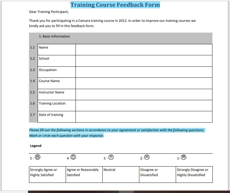 Training Feedback Form 18