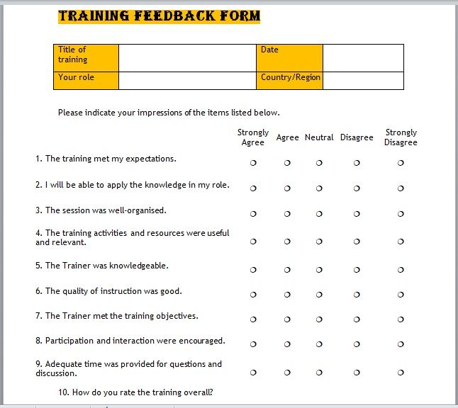 Training Feedback Form 19