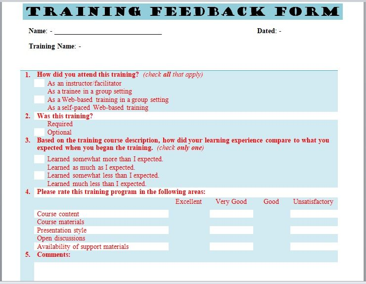 Training Feedback Form 21
