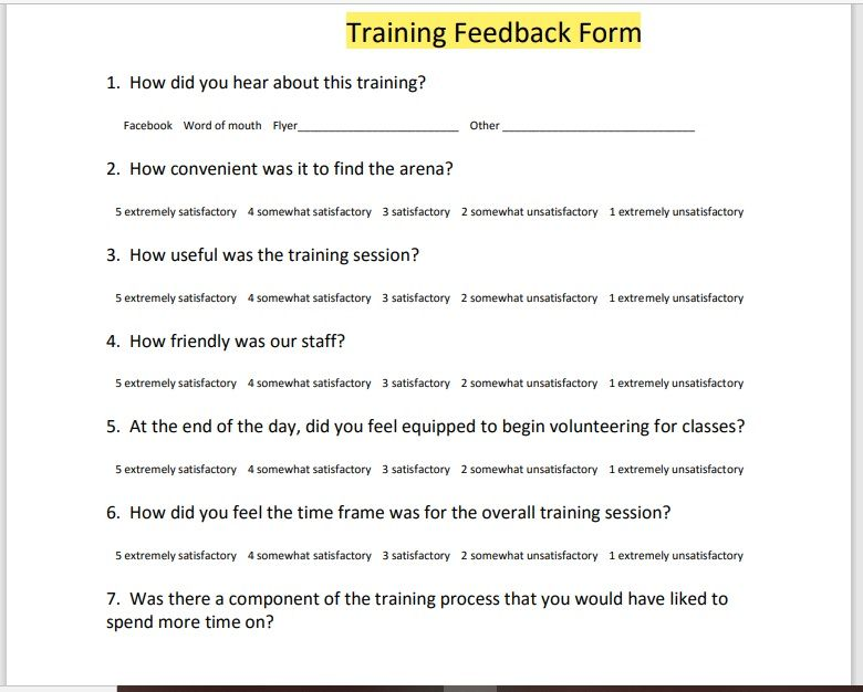 Training Feedback Form 22