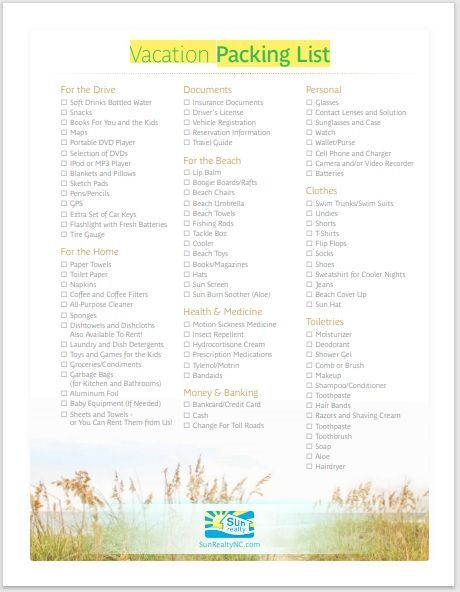 Vacation Packing List Template 19