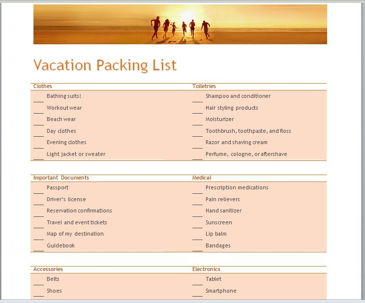Vacation Packing List Template 23