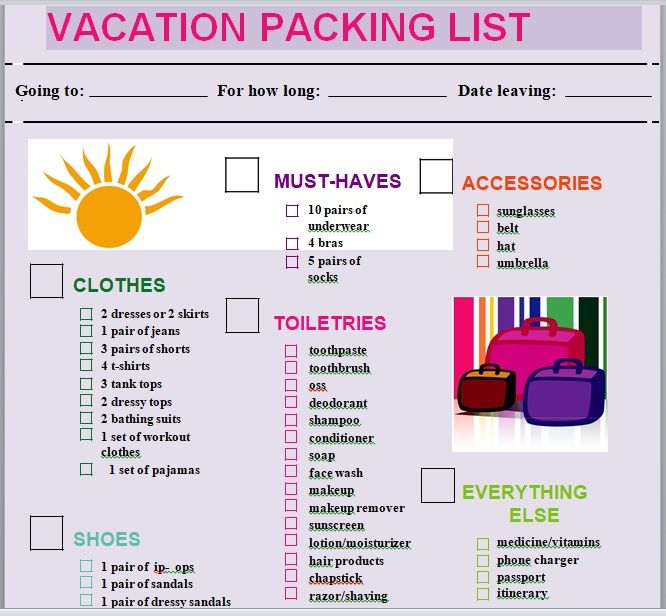 Vacation Packing List Template 25