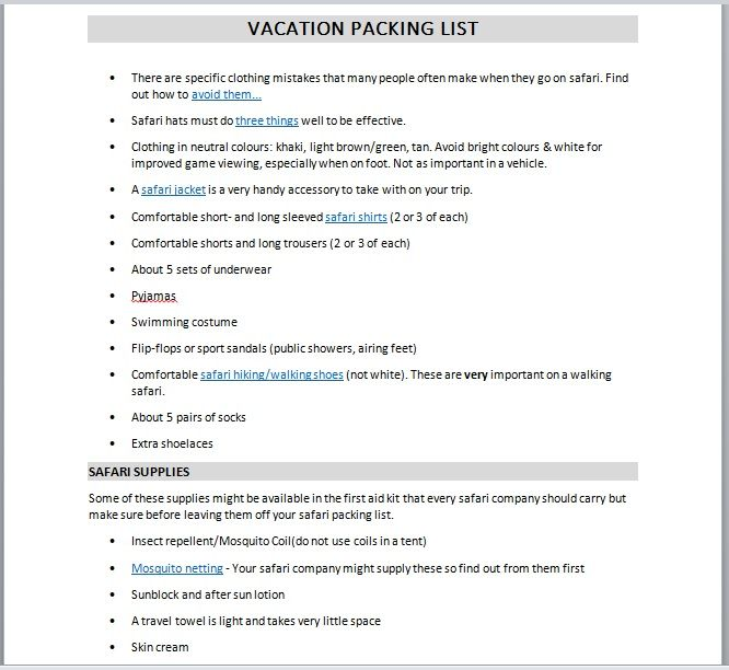 Vacation Packing List Template 03