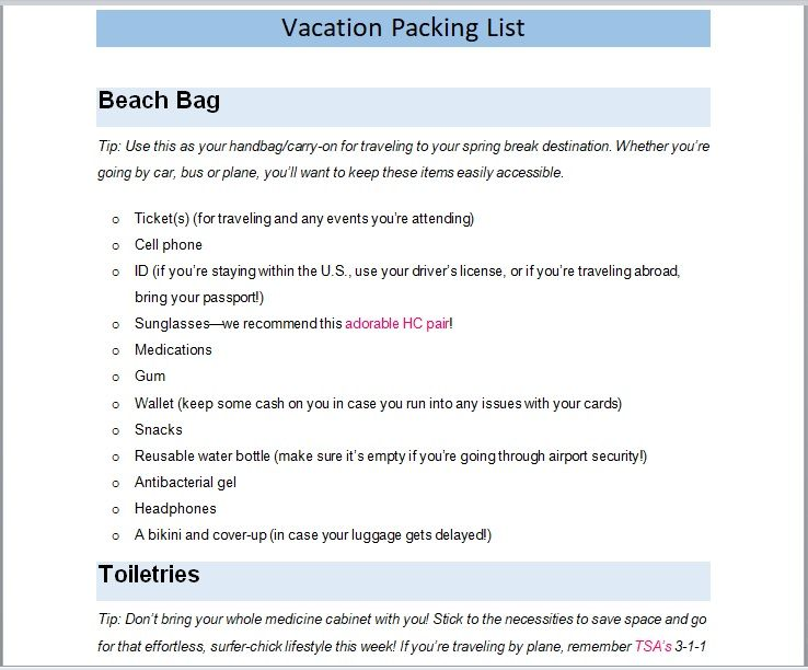 Vacation Packing List Template 13