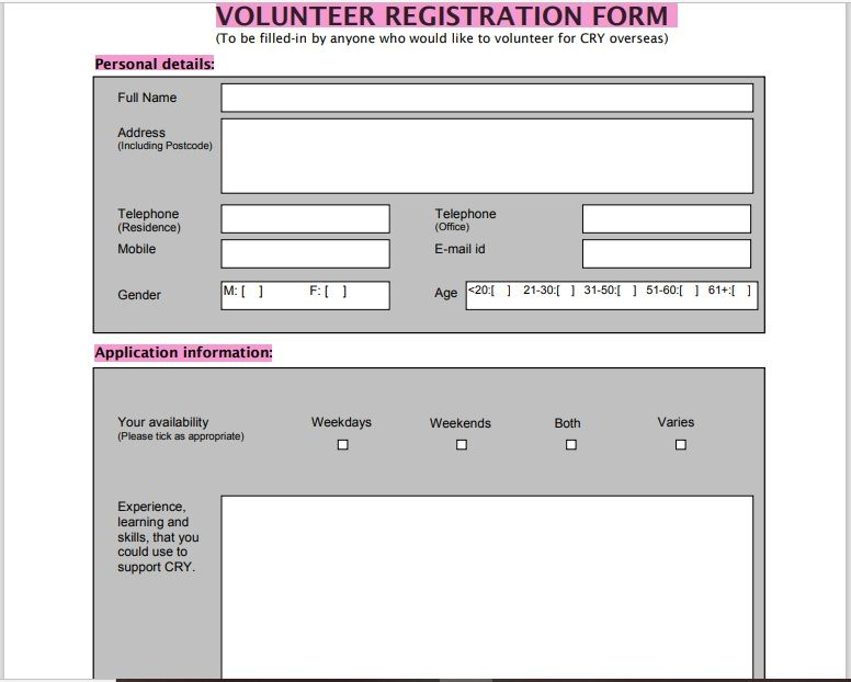 Volunteer Registration Form 04