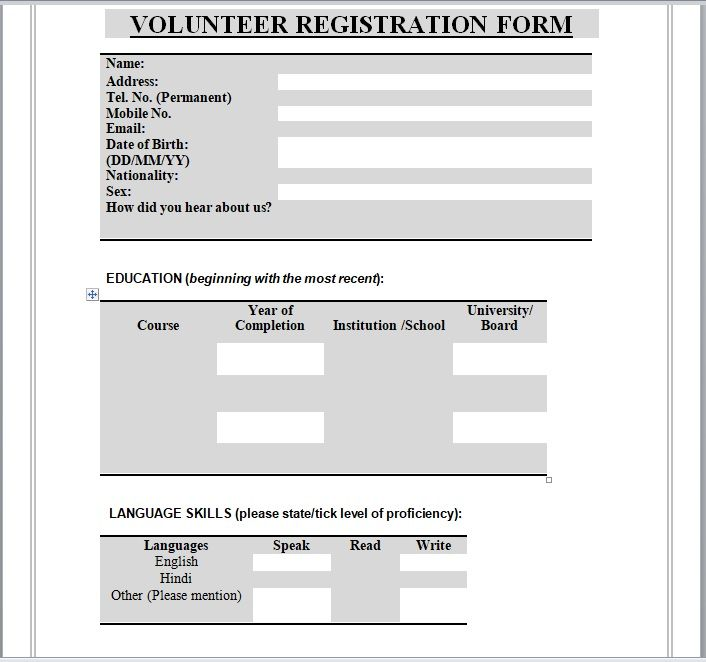 Volunteer Registration Form 07