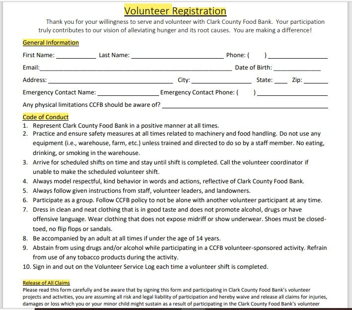Volunteer Registration Form 10