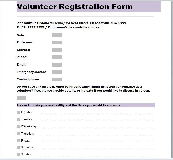 Volunteer Registration Form 13