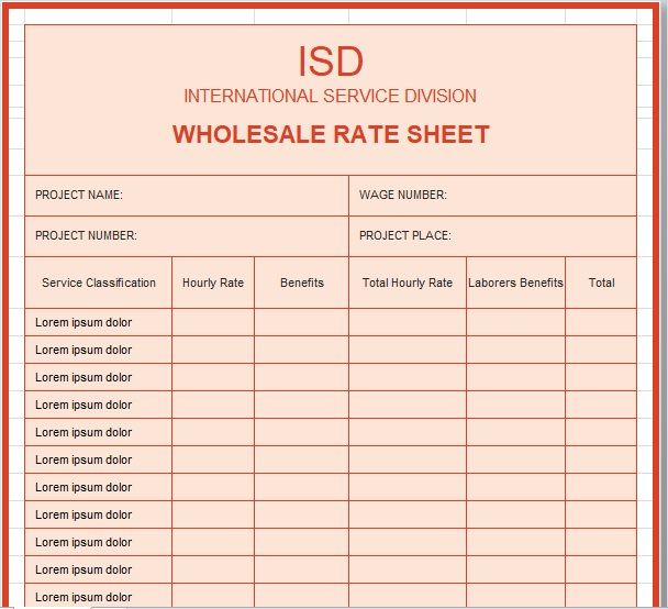 Wholesale rate sheet template 14