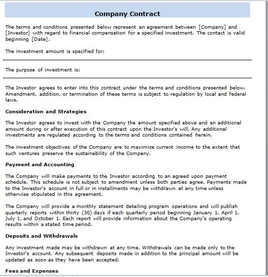 company contract template 17