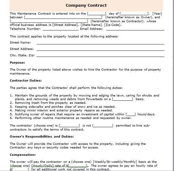 company contract template 19