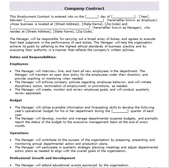 company contract template 20