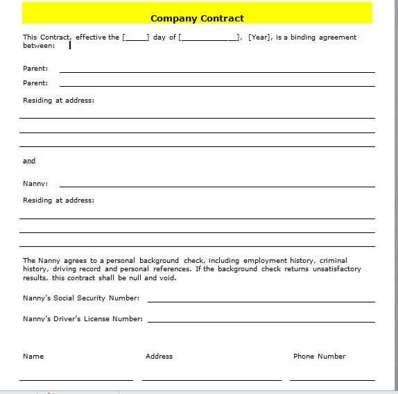 company contract template 21
