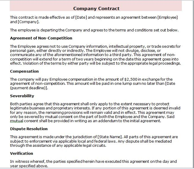 company contract template 22