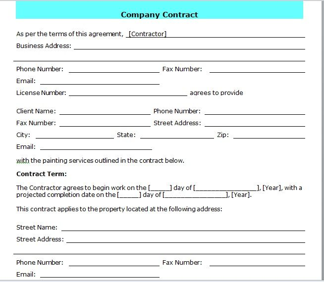 company contract template 23