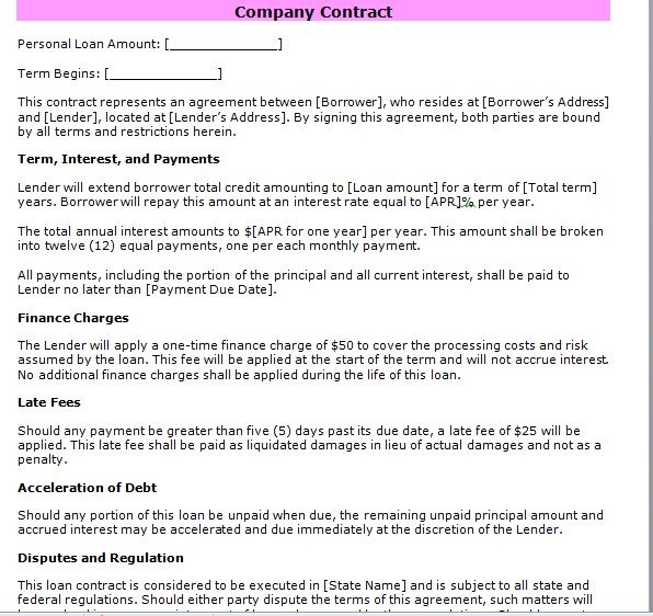 company contract template 25