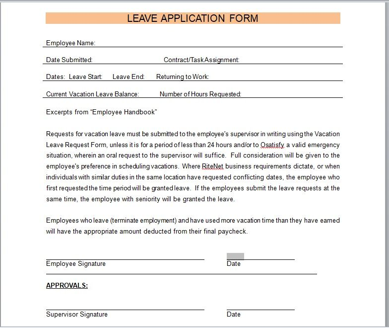 leave application form template 10
