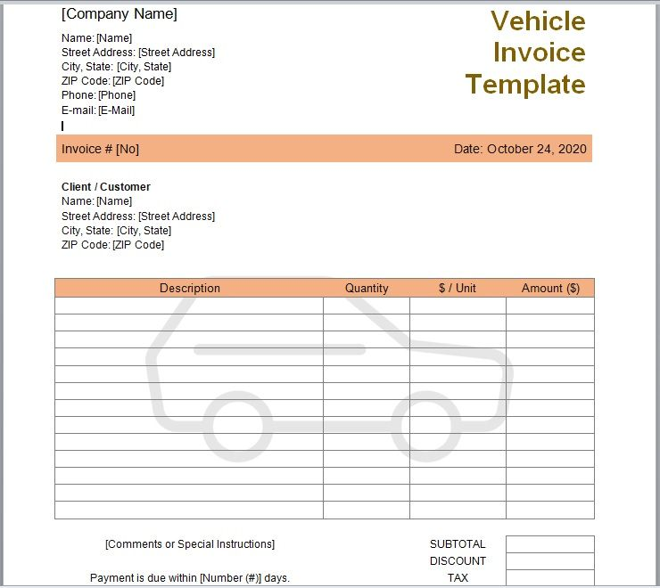 vehicle invoice template 01
