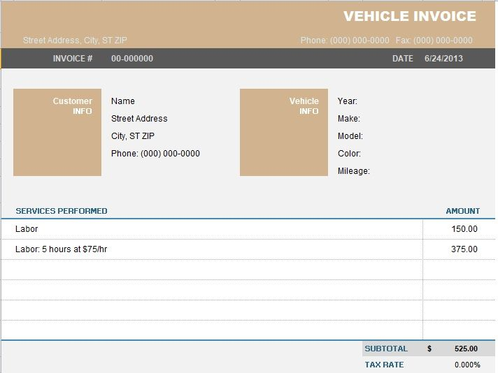 vehicle invoice template 02