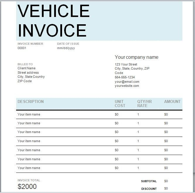 vehicle invoice template 04