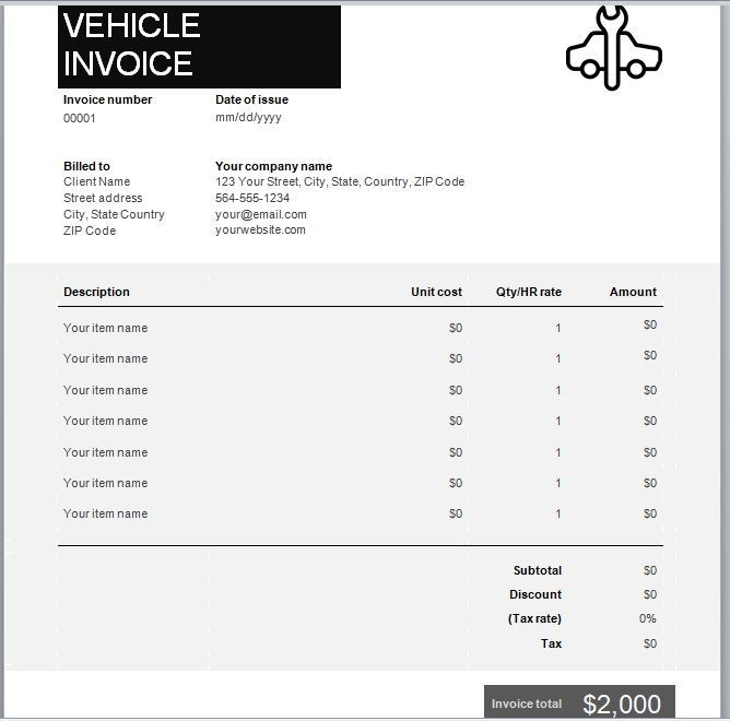 vehicle invoice template 05