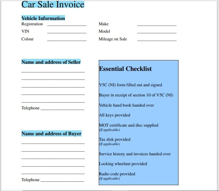 vehicle invoice template 07