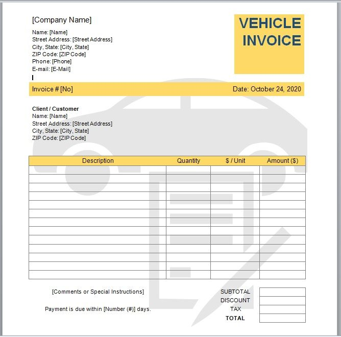 vehicle invoice template 08