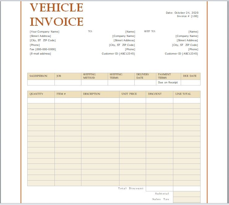 vehicle invoice template 10