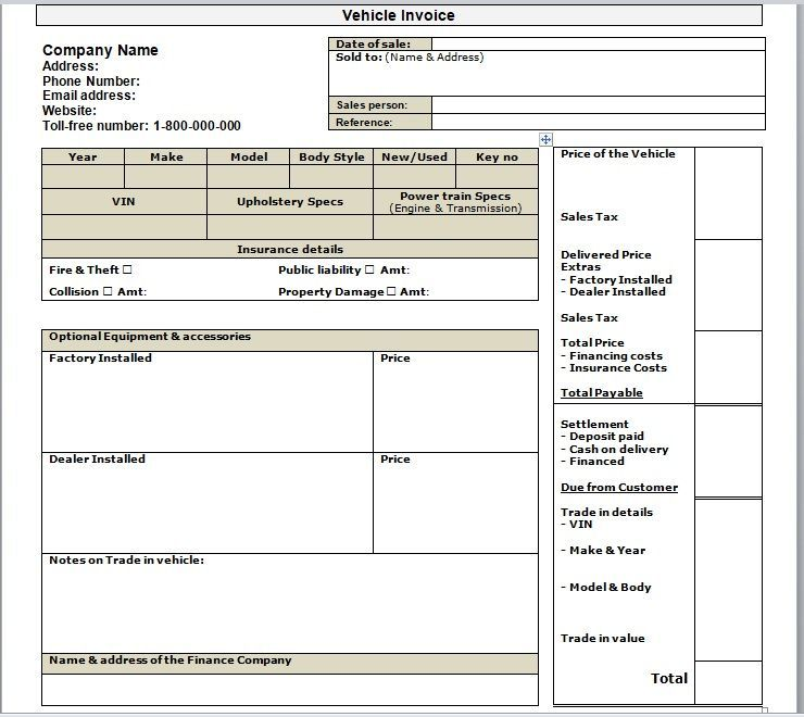 vehicle invoice template 13