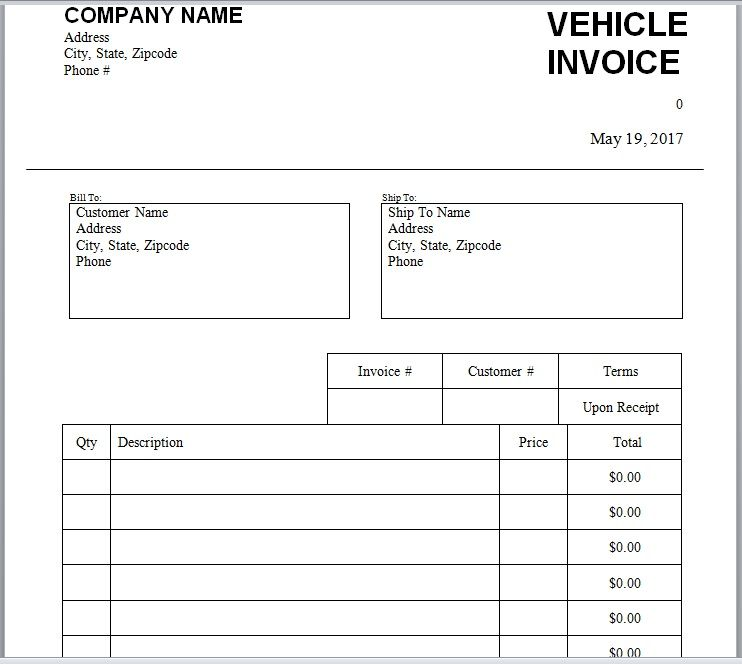 vehicle invoice template 15