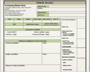 vehicle invoice template 20