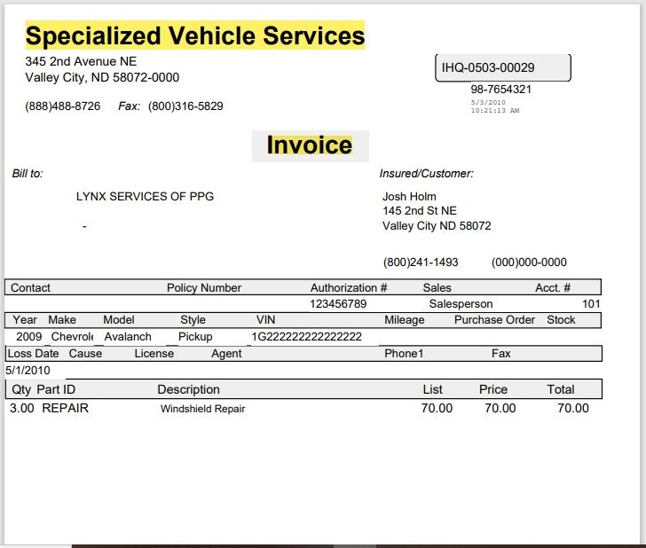 vehicle invoice template 21
